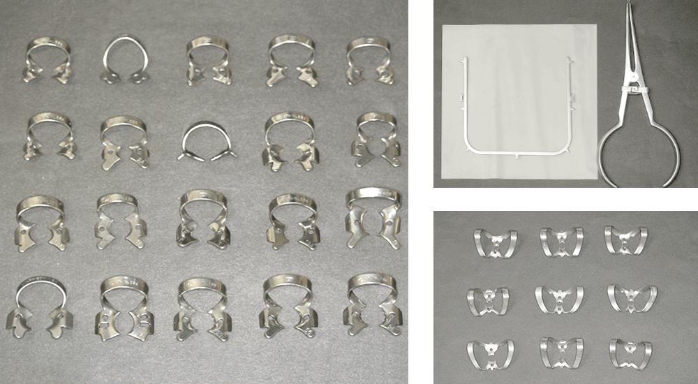 ラバーダムセットの例。クランプの種類が豊富でないと、歯にフィットさせることができない。